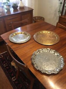Three Vintage Silver and Brass Serving Trays