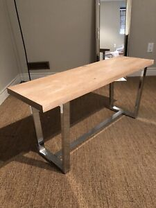 Reclaimed oak wood bench with stainless chrome legs