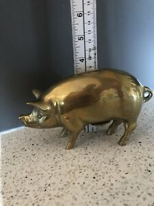 Vintage Antique Brass Pig Piggy Bank Farmhouse