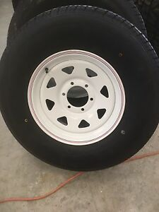 235 80 r16 Trailer tires on 6 x5.5 rims.  NEW