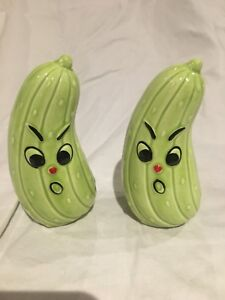 Pickle shaped salt and pepper shakers
