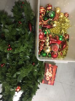 Big box of Christmas decorations and accessories