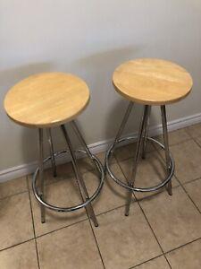 Bar stools metal and wood, set of two