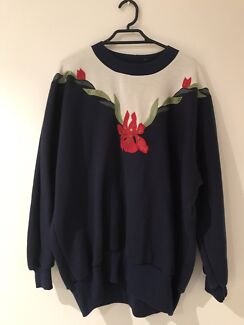 Navy blue, white, green and gold flower jumper