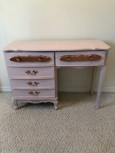 Pink furniture: Dresser, make-up table, full length mirror