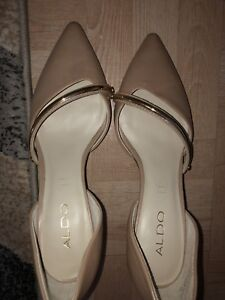 ALDO gold & nude heels (size  8) - bought size too    big