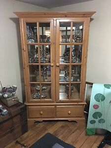 Solid Pine Glass Hutch/Cabinet