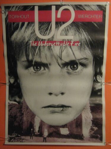"ULTRA RARE - U2 ORIGINAL 1985 BELGIUM UNFORGETTABLE FIRE TOUR POSTER 24"" X 34"""
