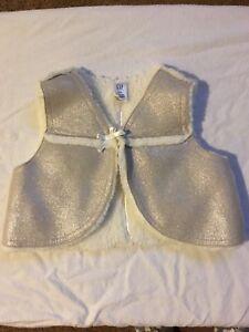 Baby Gap shiny silver fluffy vest, size 6-12 months