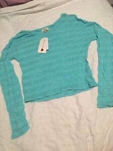 One Clothing Blue Striped Crop Top