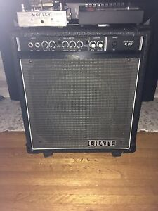 60 Watt Crate Bass Amp, Bond Graphic Equalizer, Morley Wah Pedal