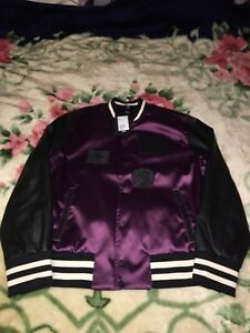 H&M purple and black varsity jacket the weeknd collection