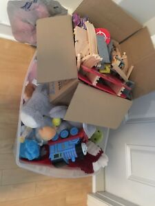 Large bin of toys and full train set!