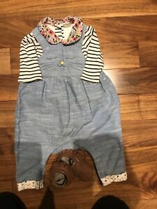 Overalls H&M and Gap floral shirt