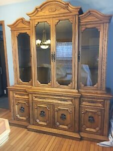 China cabinet and table - solid oak