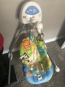 Baby swing comes with batteries .