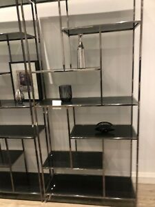 Modern glass and chrome bookcases (new condition)