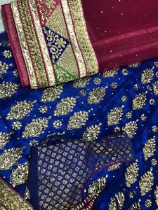 Royal blue lengha! New stitched piece beautiful heavy work!