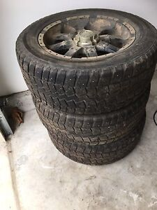 3x 20 in Toyota rims with studded tires.