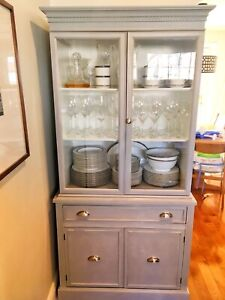 Beautiful solid wood refinished China cabinet