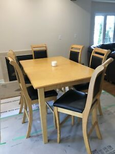 Counter height solid maple table and chairs