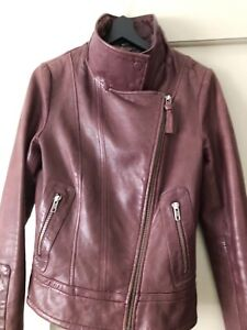 XS Mackage Aritzia leather jacket Burgundy with skin skin lining