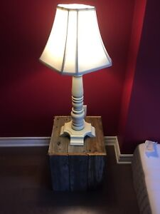 Lamp and barn wood night stand