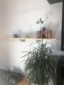 Local custom made wood shelf industrial piping/ bed frames/