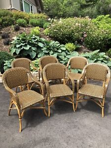 Vintage rattan leather woven bistro chairs set