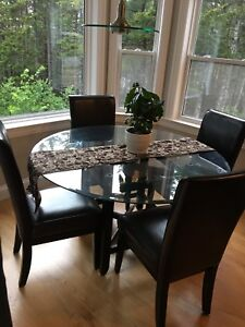 Dining set - glass top table and wood