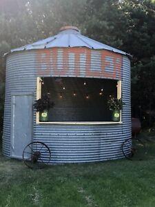 Grain bin outdoor bbq/bar.