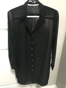 Bcbg sheer long dress shirt