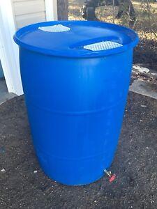 50 Gallon Rain Barrel With Garden Hose Tap Installed