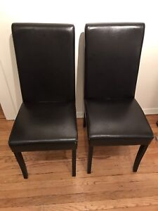 Set of 6 bonded leather Parsons dining chairs