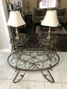 Coffee table, 2 end tables and 2 lamps.