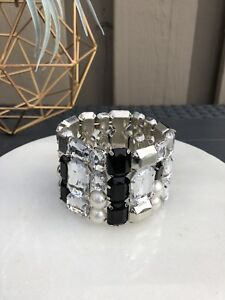BLACK AND CLEAR GEM ELASTIC BLING BRACELET