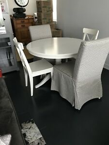 White IKEA - Dining table and 6 chairs
