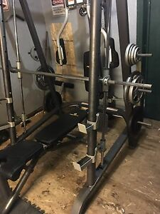 Smith machine, squat rack, bench, dumbbell set, 1000lbs weight