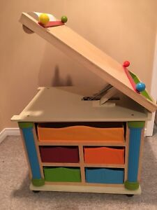 Craft table with easel and storage