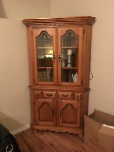 Solid wood Hutch and corner cabinet $400