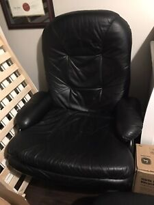 Oversized Black Leather Recliner & Ottoman
