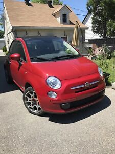 convertible Fiat 500 C rouge in perfect conditions  ,30000 k
