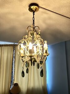 4 lights beaded chandelier