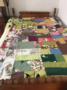 Vintage reversible bark cloth mid century quilt