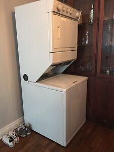 "Stackable Whirlpool ""thin twin"" washer and dryer."