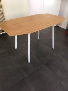 IKEA drop-leaf table, bamboo, white frame