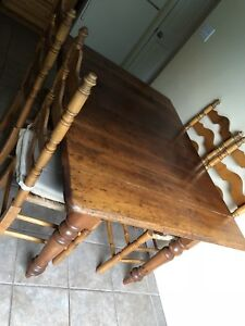 Antique table and four ladder back chairs