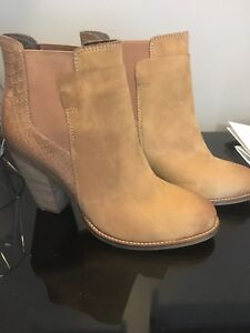 Brand new never worn, beige women's ankle boots