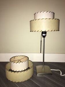 Vintage Fiberglass Two Tiered Lampshade Pair