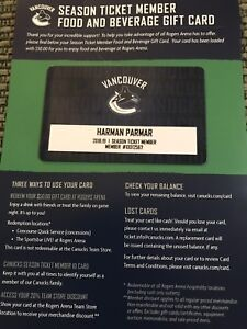 Vancouver Canucks Food and Beverage Gift Card